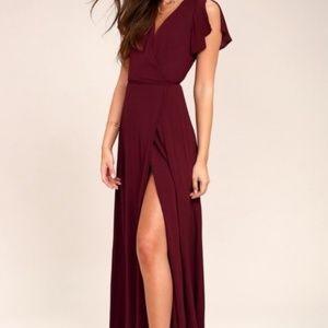 Maroon Burgundy Maxi Wrap Dress   Lulu's   Size S